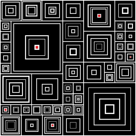 illusions: Pattern in black and white with red accents