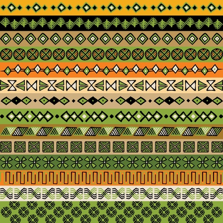 ethnic pattern: Various strips motifs colored. Vector illustration.