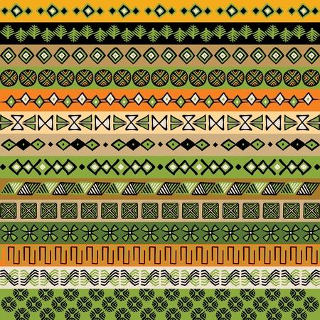 indien muster: Verschiedene Streifen Motive gef�rbt. Vektor-Illustration.