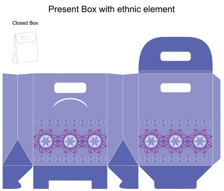 Template present box in blue colours. Vector illustration Vector