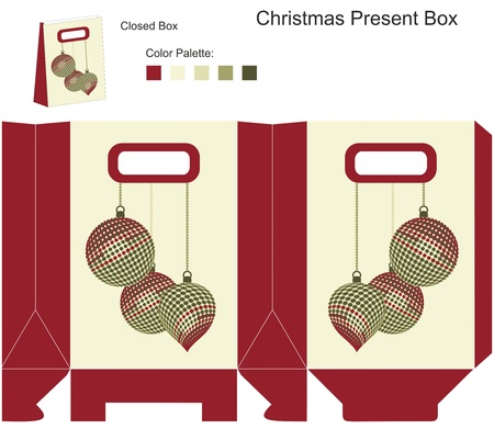 Decorative gift box with Christmas balls Vector