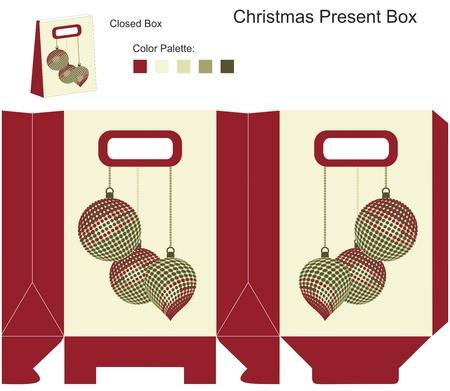 file box: Decorative gift box with Christmas balls Illustration
