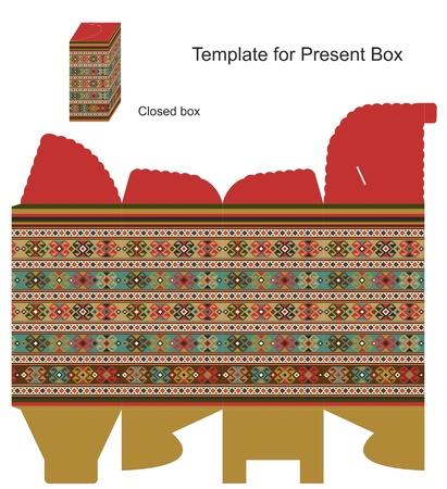 file box: Present box with ethnic ornaments