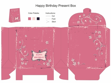 file box: Happy Birthday Gift Box Template