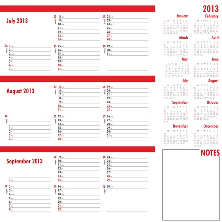 Vector planner for 2013 -Three month calendar Stock Vector - 16730751