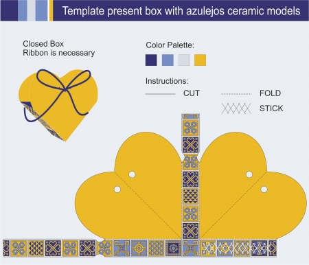 Template present box in heart shape with azulejos ceramic models Stock Vector - 17207881