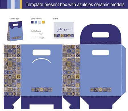 Template present box with azulejos ceramic models Vector