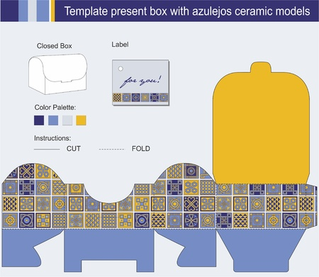 present box with blue azulejos ceramic models Vector