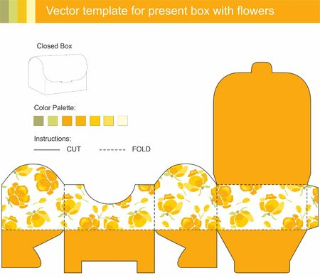 gift box with spring yellow flowers Vector