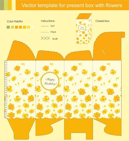 Vector template for present box with flowers Vector