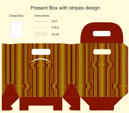 Template for gift box with stripes design Illustration