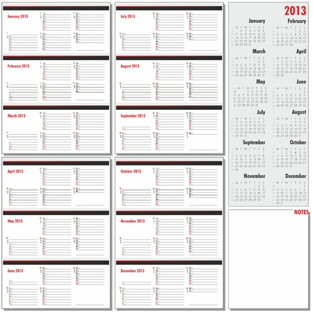 Vector annual planner for 2013 Stock Vector - 17344825