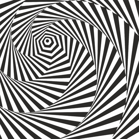 Black and white optical illusion. Vasarely optical effect. Illustration