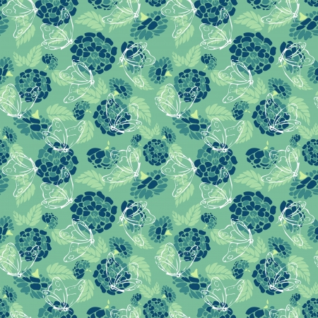 Blue and green background with flowers and butterflies Vector