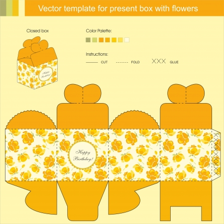 box template: Vector template for present box with spring yellow flowers