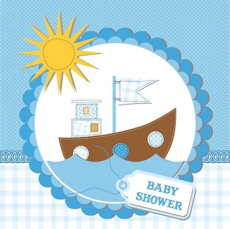Conception de la carte de douche de bébé. illustration vectorielle Vecteurs