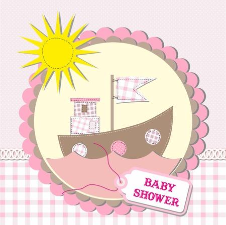 welcome smile: Baby shower scrapbooking tarjeta de dise�o. ilustraci�n vectorial Vectores