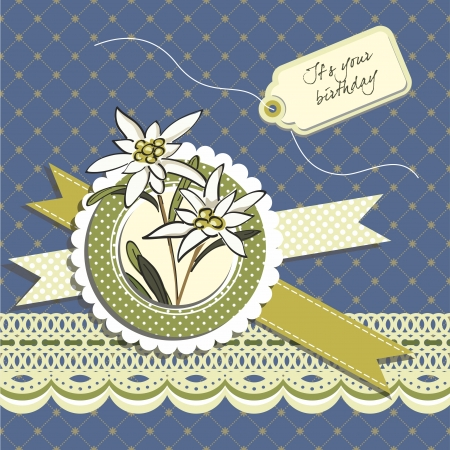 Happy Birthday Greeting card with edelweiss flowers Vector