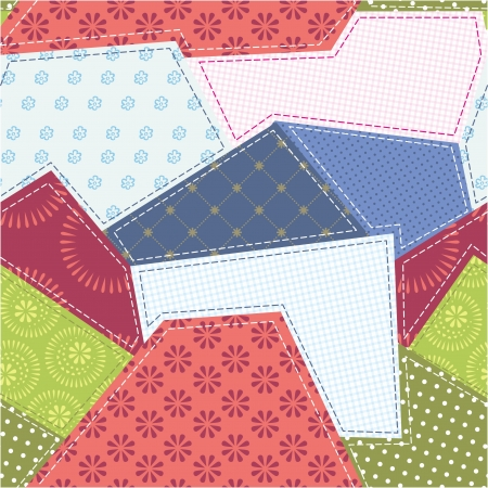 Seamless patchwork background pattern. Will tile endlessly. Vector
