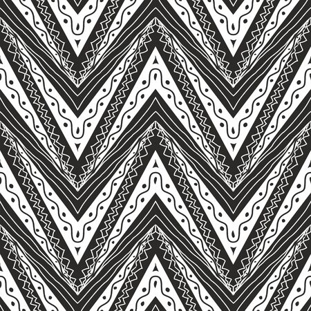 Zig zag seamless pattern in black and white colour Vector