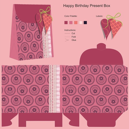 Happy Birthday Gift Box Template Vector