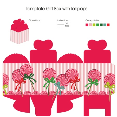 sweet baby girl: Design with lollipops candy for present box template. Including color palette and instructions. Illustration