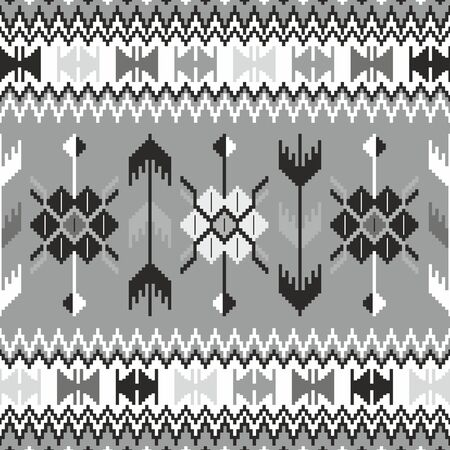 Seamless ethnic pattern background in black and white Vector