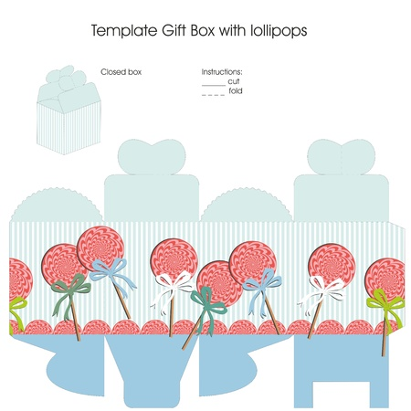 Template gift box for baby boy shower favors