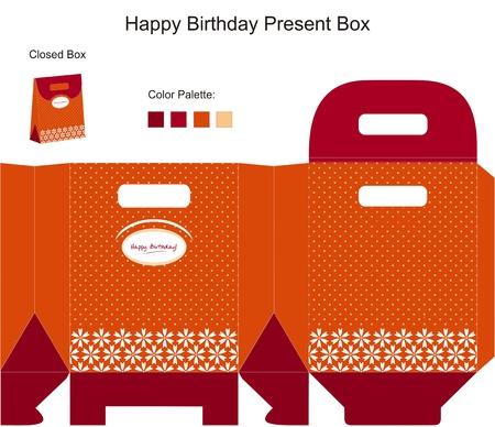 packaging template: Happy Birthday Present Box Illustration