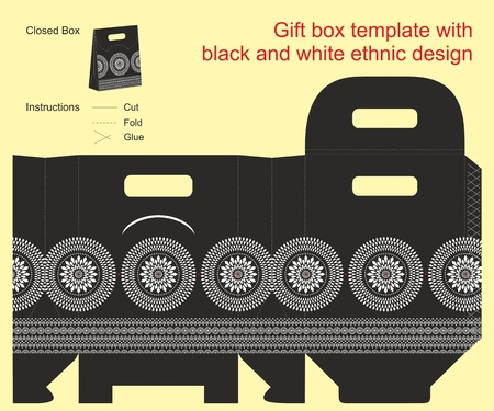 Gift box template with black and white ethnic design Vector
