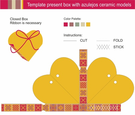azulejos: Template present box in heart shape with azulejos ceramic models