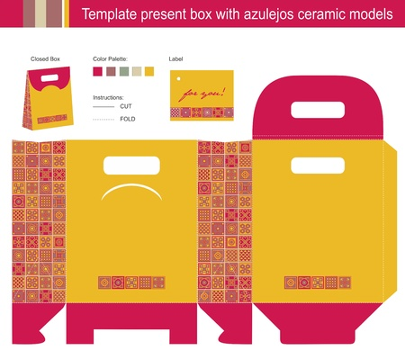 Template present box with azulejos ceramic models Stock Vector - 20950144