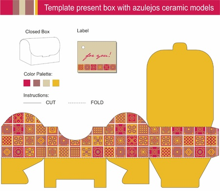 azulejos: Vector template for present box with blue azulejos ceramic models