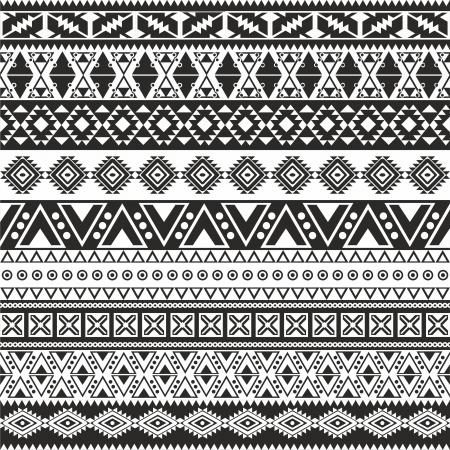 部族のシームレスなパターン - アステカの黒と白の背景