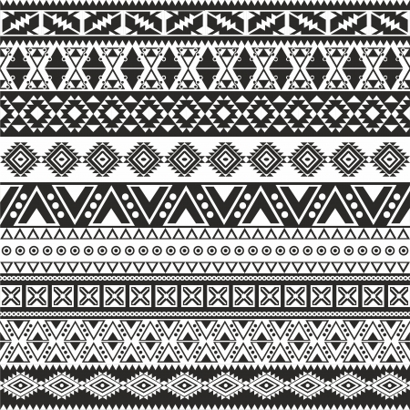 Tribal seamless pattern - aztec black and white background Çizim