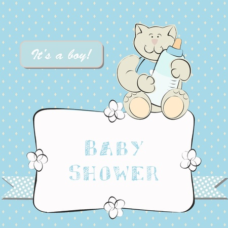 Baby Shower Invitation with Dot Background. Background for little baby boy. Vector