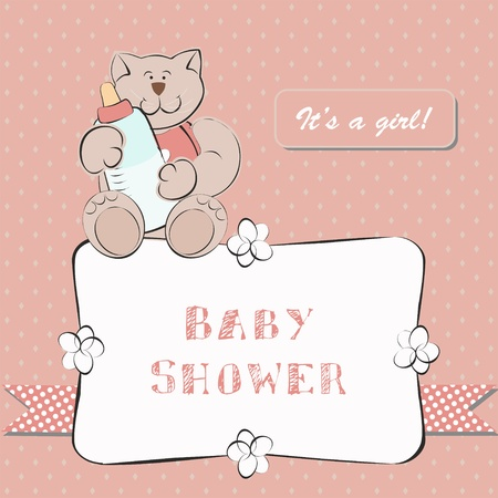 Baby Shower Invitation with Dot Background. Background for little baby girl. Vector