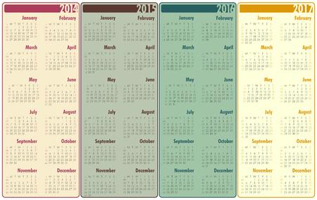 2014-2017 Calendar Vector