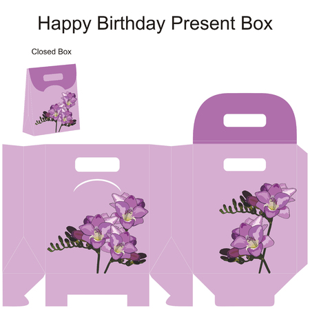 favors: Template gift box for wedding favors  Freesia flowers bouquet