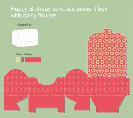 diecut: Present Box with Happy Birthday label Illustration