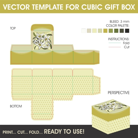 die: Vector template for cubic gift box with edelweiss flowers design Illustration