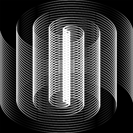tunnel vision: Black and white spiral optical illusion Illustration