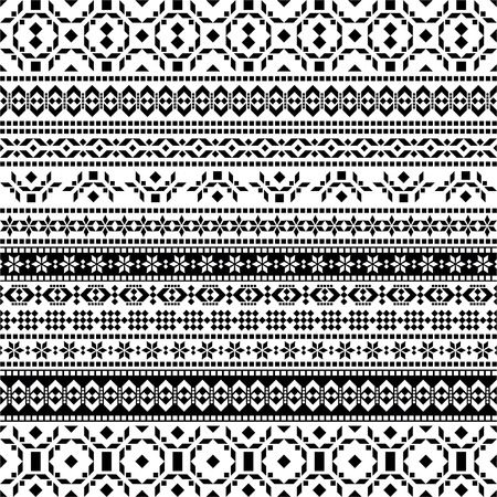 south america: Tribal seamless pattern - aztec black and white background Illustration