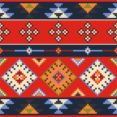 lappet: Set of vector Eastern Europe folk seamless pattern ornaments.