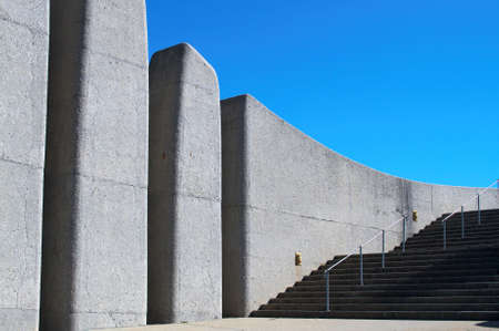 Stairs next to Afrikaans Language Monument shot on blue sky background in Paarl, Western Cape, South Africa photo