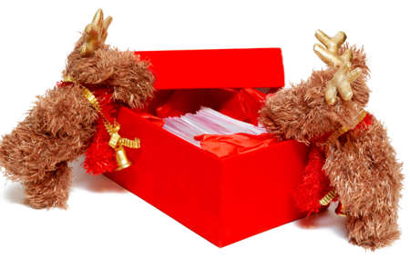 Two mousse leaning over the red gift box on Christmas on white background photo