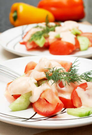 Colorful shrimp salad with tomatoes, cucumber and some dill for garnish with bell peppers in the background photo