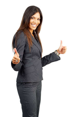 Beautiful successful brunette woman in pinstripe suit celebrating a deal. Isolated on white background with copy space photo