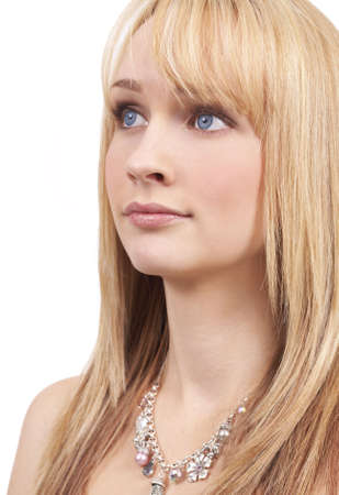 Portrait of a beautiful blonde woman with light blue eyes and natural make-up Stock Photo - 3299402