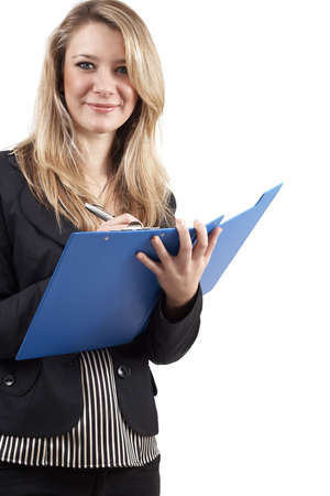 Beautiful blonde businesswoman wearing office clothes writing in a blue clipboard. Isolated on white background  photo